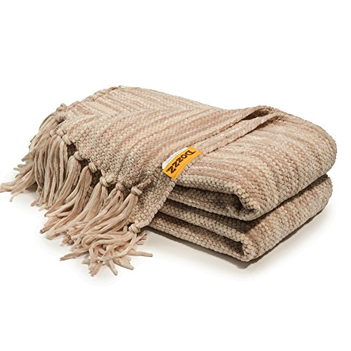 e Knitted Throw Blanket with Decorative Fringe and Striped for Couch Cover Sofa Chair Bed Gift Mixed Brown ()