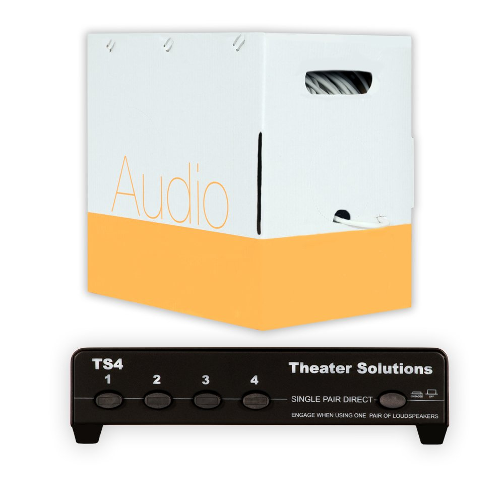 Theater Solutions TS4 Four Zone Speaker Selector Box with Ohm Protection and 500' of C500-14-2 Wire by Theater Solutions
