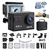 4K Action Camera WIFI With 2.4G Wireless Remote Control And 2 Inch LCD Screen UHD 20MP Waterproof Camera 170 Degree Wide Angle Underwater Camera for Kids,Skiing,Racing,Biking,Diving,Extreme Sports and Water Sports
