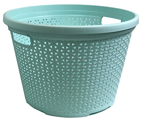 Wee's Beyond W08-1095-PS.Grn Rattan Round Laundry Basket 30 Lt, Pastel Green (Green Laundry Basket)