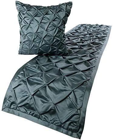 The HomeCentric Luxury OFFer Blue King 90 Bed inch Satin OFFicial 18 Runner x