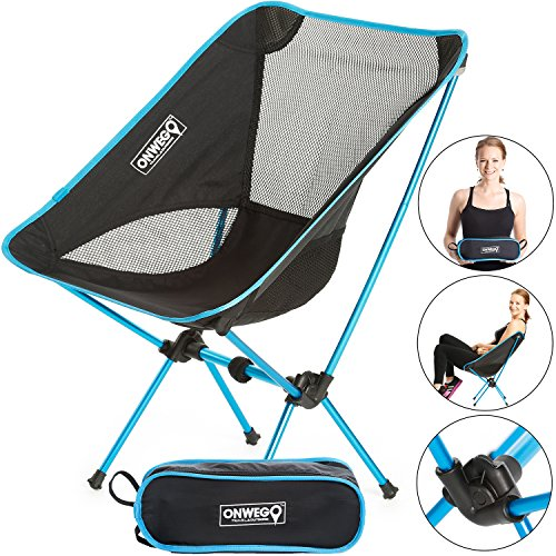 Portable Folding Camping and Backpacking Chair / Small Sport Chair - Lightweight Foldable Gear, Compact, Packable Carry Bag, and Heavy Duty. Beach lounge, hiking, travel, festivals, and concerts.