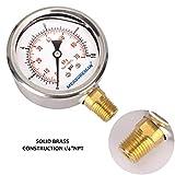 "Measureman 2-1/2"" Dial Size, Liquid Filled Pressure Gauge, 0-60psi/kpa, 304 Stainless Steel Case, 1/4""NPT Lower Mount"