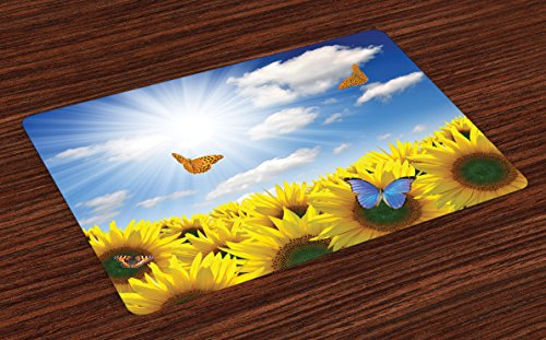 Lunarable Sunflower Place Mats Set of 4, Sunflowers in Meadow with Butterflies Floral Image Country Style Home Design, Washable Fabric Placemats for Dining Room Kitchen Table Decoration, Yellow Blue