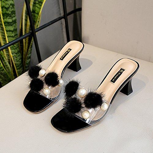 Milieu Yalanshop Noir Pour Femmes Perles Au Sneakers Aux D't Orteils Chaussures Et Paillettes Cool OOBqazg