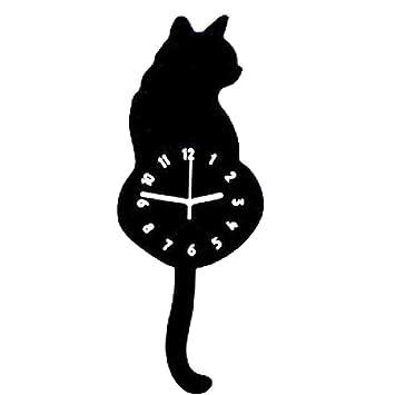 reloj de pared adhesivo romano grande 3d gatos, La cola puede moverse, 30cm -