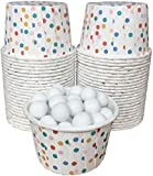 Polka Dot Candy Nut Mini Baking Paper Treat Cups - Red White Blue Yellow - 48 Pack