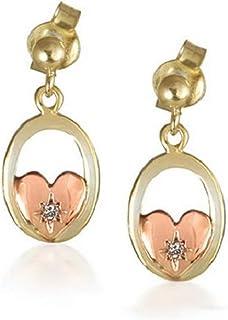Cymru Doré Cœur Diamant ovale Pendants d'oreilles
