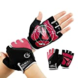 TimeBus 6mm GEL Palm Shock-Absorbing Cycling Gloves, Anti-Slip Mountain Bike Gloves, Protective Road Racing Bicycle Gloves, Breathable Sport Half Finger Gloves for Men & Women (Red, XXL)