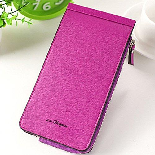 Violet Cartes TENGGO en Cuir Pochette Les en Card Femmes Téléphone Microfibre Multi Pink Porte De Foncé Slots gZvgx