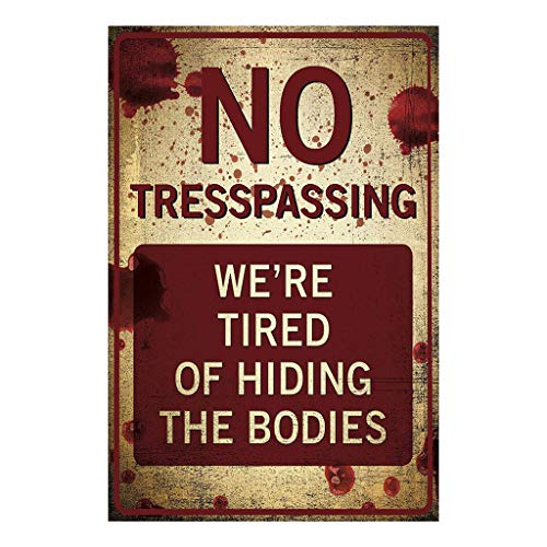 Trespassing Wall -  Orcbee  _No Trespassing Retro Metal Sign Flag Plaque Bar Club Cafe Garage Wall Decor Art (Coffee)