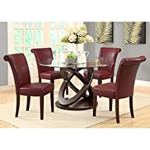 Monarch Specialties Leather-Look High Side Chair, 39-Inch, Burgundy, Set of 2