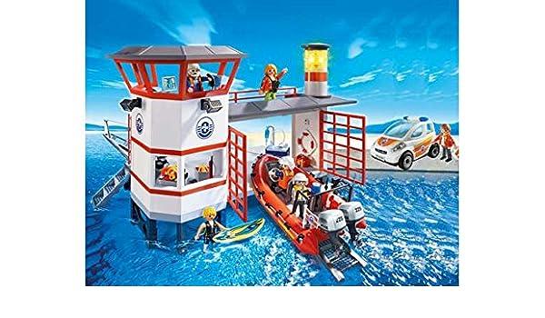 Estación Emergencia Playmobil De Con Guardacostas Vehículos OXZPkuiT