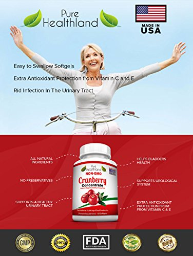 Non GMO Cranberry Concentrate Supplement Pills for Urinary Tract Infection UTI. Equals 12600mg Cranberries. Triple Strength Kidney Bladder Health for Men & Women. Easy to Swallow Softgels, 6 Bottles by Pure Healthland (Image #4)
