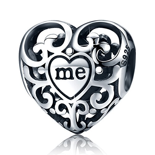 XingYue Jewelry Love Heart S925 Sterling Silver Openwork Bead Charm Protect Me in Your Heart Forever Charm Fit Bracelet