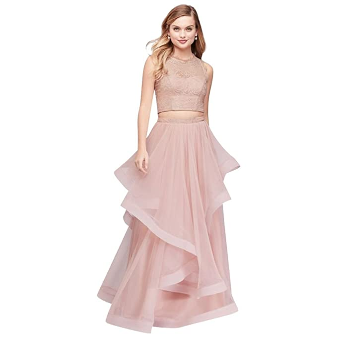 Davids Bridal Illusion Lace Two Piece Prom Dress With Horsehair