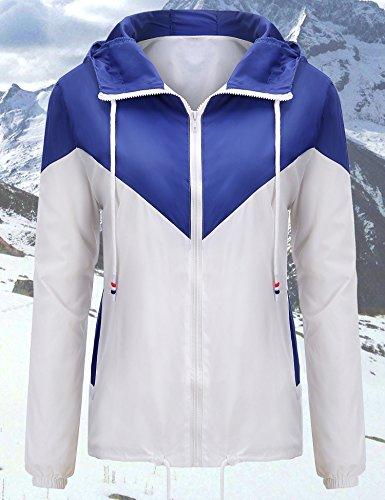 Blue Lined Jacket - Uniboutique Women's Waterproof Rain Jacket Lightweight Hooded Outdoor Raincoat Windbreaker Royal Blue S