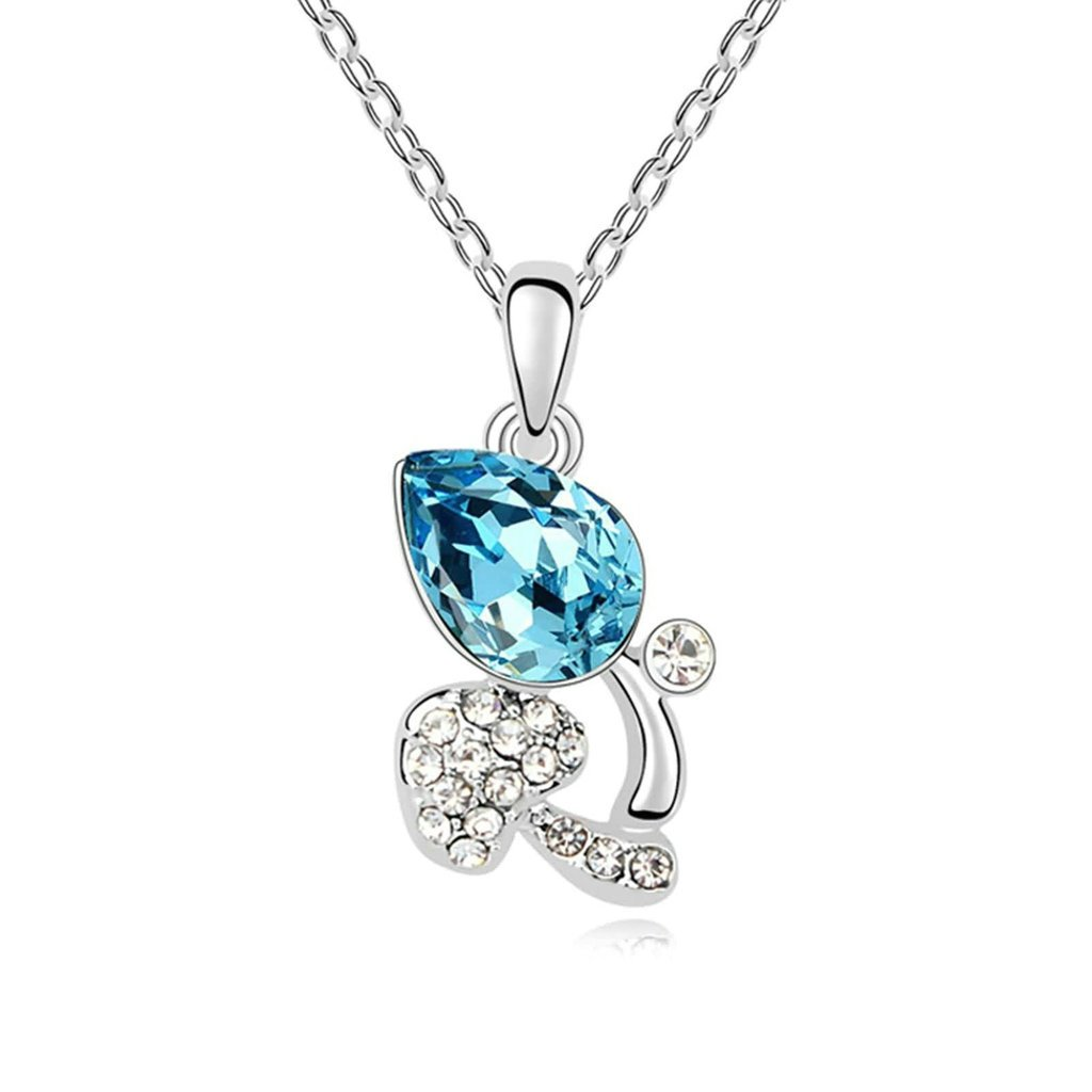 Adisaer Gold Plated Pendant Necklaces for Women Cubic Zirconia Rose