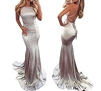 USGreatgorgeous Elegant Lady Halter Mermaid Silver Sequins Cross Bandage Backless Long Evening Prom Dress