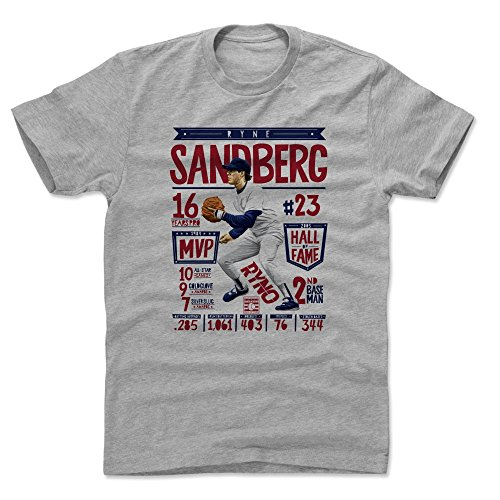 Chicago Cubs Heather - 500 LEVEL Ryne Sandberg Cotton Shirt (XX-Large, Heather Gray) - Chicago Cubs Men's Apparel - Ryne Sandberg Stats R