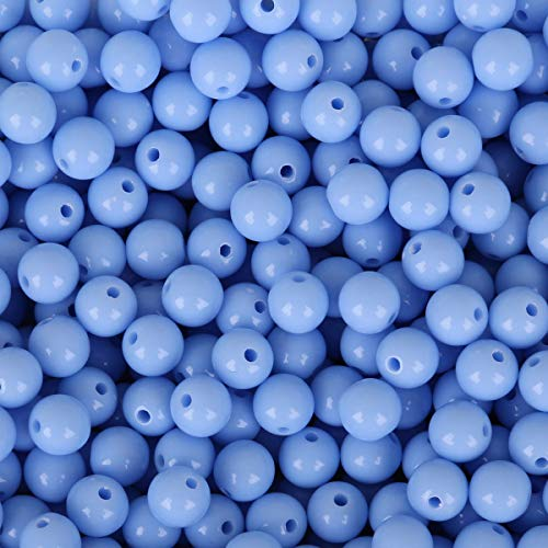 500-Piece 8mm Candy Colors Loose Beads, Assorted Color Acrylic Sphere Ball Beads Lot for Bracelets Necklaces Jewelry Making DIY Kids Easter Spring Craft Projects (Light Blue)