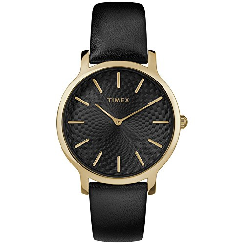 Timex Women's TW2R36400 Metropolitan 34mm Black/Gold-Tone Leather Strap Watch ()