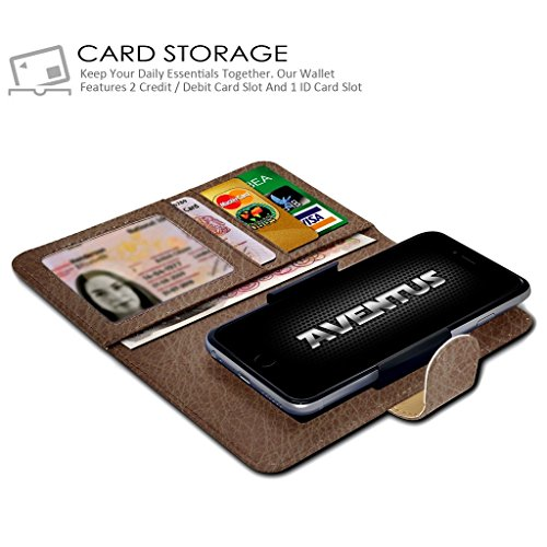 Aventus Clamp PU Grand Green Case Spring Wallet Universal Leather and 5 Camera Clamp Wallet with Case Pocket Slide Premium BLU Holder Brown Card 5 Banknotes Slot HD rqr48x