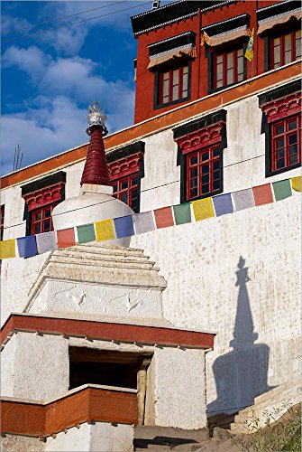 Prayer Flags and a chorten at Thiksey Monastery, Leh, Ladakh, India by Ellen Clark/Danita Delimont Laminated Art Print, 25 x 38 inches
