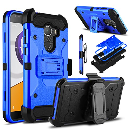 Alcatel T-Mobile REVVL Case, Alcatel A30 Fierce Case, Venoro Heavy Duty Armor Shockproof Rugged Protection Case Cover with Belt Clip and Kickstand for Alcatel A30 Plus / Alcatel Walters (Light Blue)