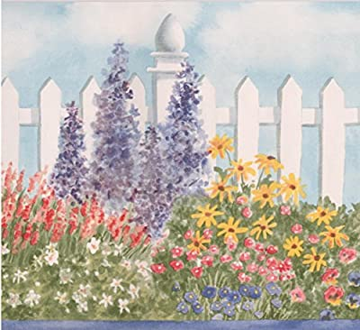 Wide Red White Violet Flowers by White Fence Floral Wallpaper Border Retro Design, Roll 15' x 6.87''