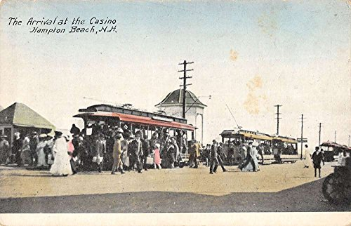 - Hampton Beach New Hampshire Casino Trolley Arrival Antique Postcard K32794