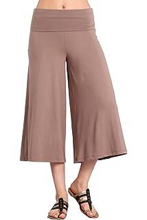 1d53a0c58520 HEYHUN Women s Solid Tie Dye Wide Leg Flared Capri Boho Gaucho Pants w Lace  Detail