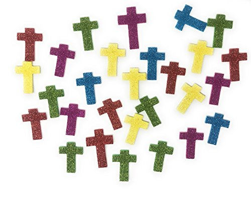 Sea View Treasures 500 Piece Mega Bulk Glitter Cross Foam Craft Kit Stickers Assortment