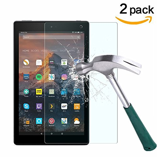 All-New Fire HD 10 Screen Protector [2-Pack],TANTEK Anti Scratch,Bubble Free,Tempered Glass Screen Protector for All-New Fire HD 10 Tablet(7th 2017 Release)