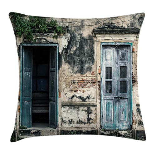 Ambesonne Rustic Throw Pillow Cushion Cover, Doors of Old Rock House with French Frame Details in Countryside European Past Theme, Decorative Square Accent Pillow Case, 20 X 20 Inches, Teal Grey ()