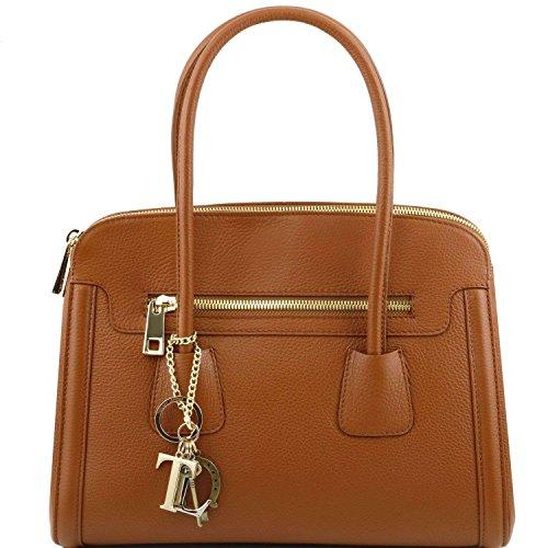 Tuscany Leather - TL Keyluck - Sac à main en cuir souple - Cognac