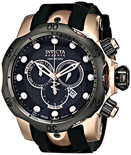 Invicta Men's 0361 Reserve Collection Venom Chronograph 18k Black/Rose Gold-Plated Stainless Steel Watch ()