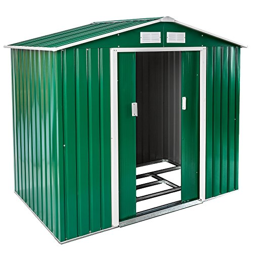 TecTake Metall Gerätehaus Gartenhaus Satteldach | 214x130x185cm | mit Metall-Fundament