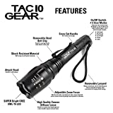 TAC10 GEAR CREE XML-T6 1,200 Lumens Water Resistant LED Tactical Flashlight with Rechargeable Li-Ion Batteries, Charger, Adjustable Zoom Focus, 5 User Modes, and Holster