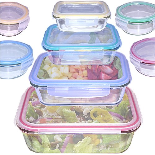 16 Piece Glass Food Storage Containers Set - Different Sizes & Shapes - Colorful Airtight & Leakproof Lids - 100% Healthy & Oven, Microwave, Freezer, Dishwasher Safe - By - Shapes Glasses Of Different