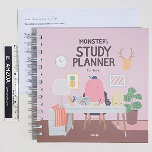 Monster Study Planner for 1 Year with AHZOA Mini Ruler and English Translation Papers About Korean Subtitles, Academic Planner for Student (Pink)