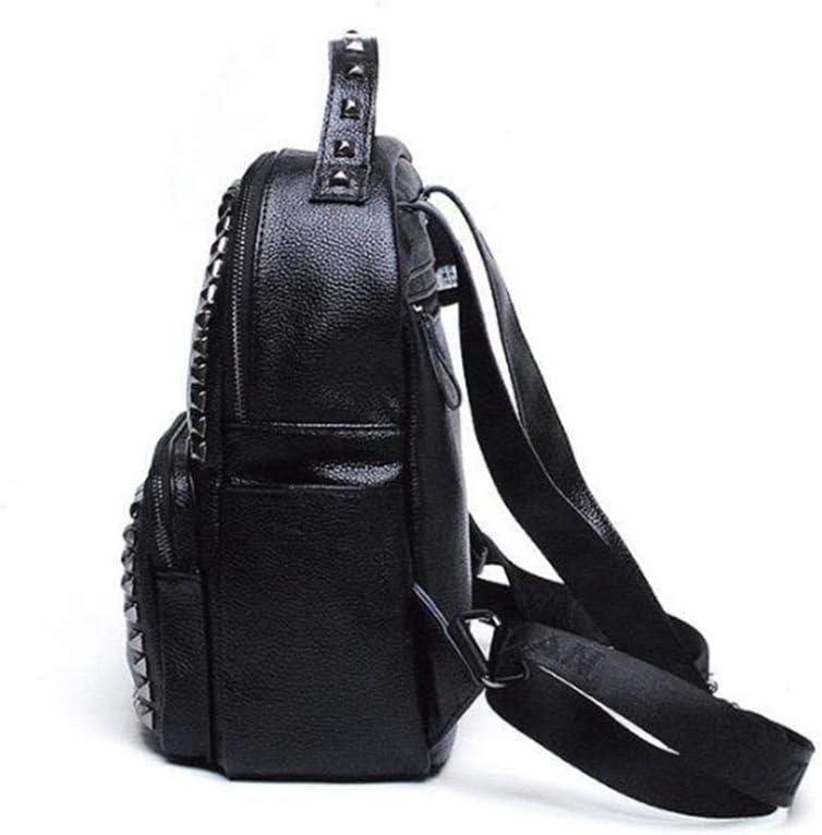 Ambiguity Ladies Backpacks Travel,Leather Backpack Rivet Fashionable Backpack Bag 25x15x30cm