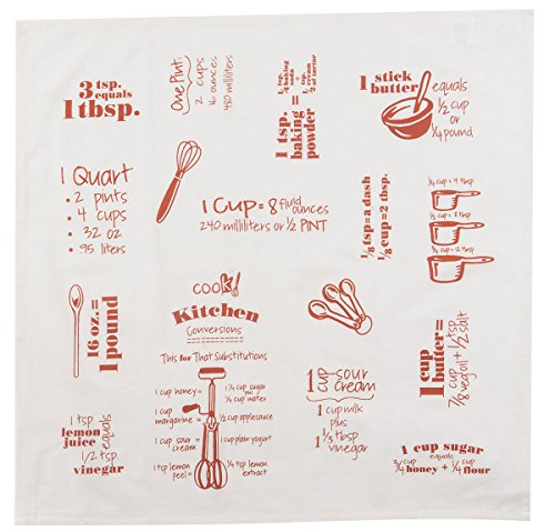 Kay Dee Designs R3463 Cook's Kitchen Conversions & Equivalents Krinkle Flour Sack Towel, Tiger Lily