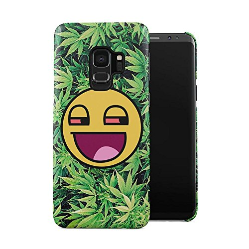 Stoned Designs (Stoned Smiley Stoner Vaper Face Smoke Weed Pattern Plastic Phone Snap On Back Case Cover Shell for Samsung Galaxy S9)