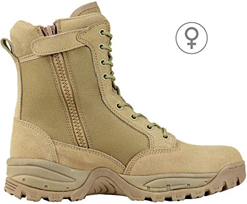 Maelstrom Women's TAC FORCE 8 Inch Military Tactical Duty Work Boot with Zipper, Tan, 7.5 M US