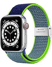 Netolo Solo Loop Compatibel met Apple Watch Bandje 45mm 44mm 42mm, Elastische Nylon Sport Bandje Compatibel met Apple Watch SE Bandje iWatch Bandje Series 7 6 5 4 3 2 1, 42mm/44mm/45mm Blauw Groen