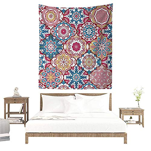 alisoso Wall Tapestries Hippie,Moroccan Decor Collection,Ethnic Colorful Bohemian Pattern in Pastel Colors with Big Abstract Flowers Ornate Art W47 x L63 inch Tapestry Wallpaper Home Decor ()
