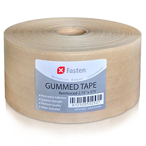 XFasten Reinforced Gummed Kraft Paper Tape, 2.75 Inches x 375 Feet