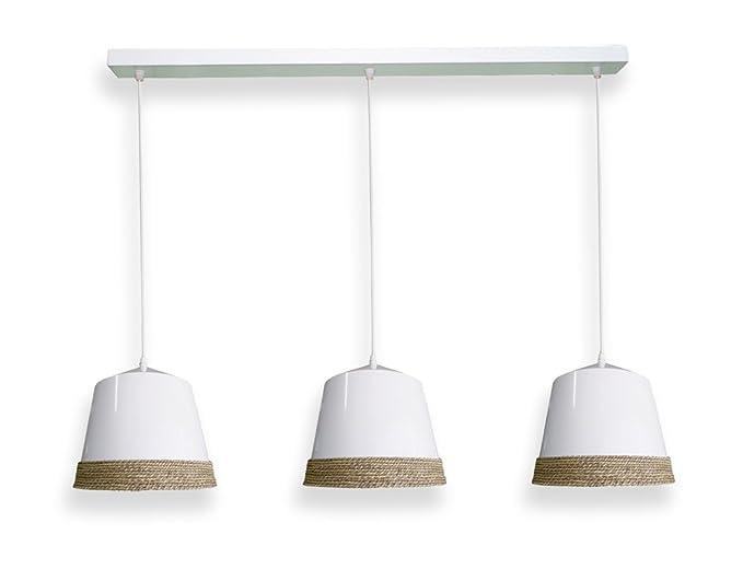 Moycor Lámpara de techo triple de ceramica blanca con cuerda ...
