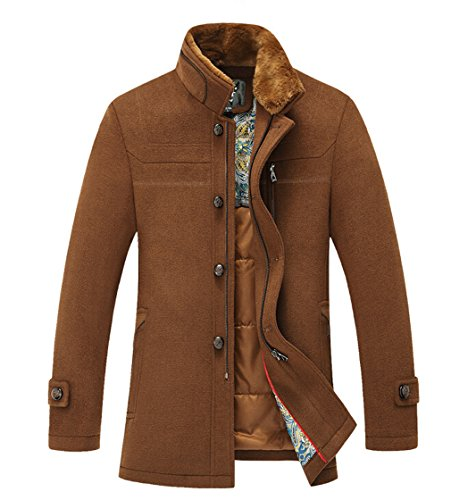Sulandy@ Men's Winter Warm Soft Wool Blend Pea Coats Slim...